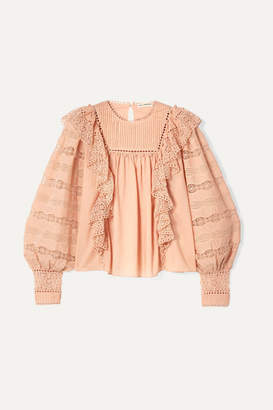 Ulla Johnson Lily Ruffled Crochet-trimmed Cotton-voile Blouse - Blush