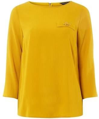 Dorothy Perkins Womens Yellow Bar Pocket 3/4 Sleeve Blouse