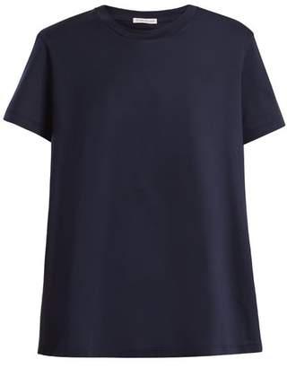 Moncler Ruffle Trimmed Cotton T Shirt - Womens - Navy
