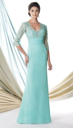 Mon Cheri Montage by Mon Cheri - 114907 Long Dress In Aqua Green $486 thestylecure.com