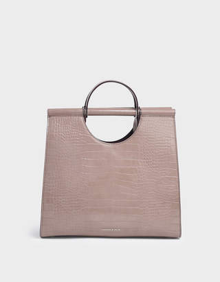 Charles & Keith Croc-Effect Double Top Handle Structured Tote
