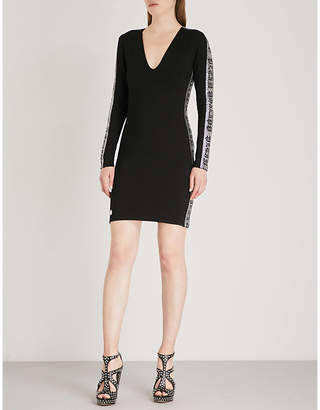 Philipp Plein Sequin-embellished stretch-crepe mini dress