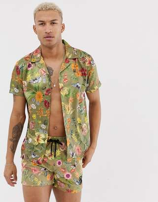 SikSilk two-piece short sleeve shirt in green floral print