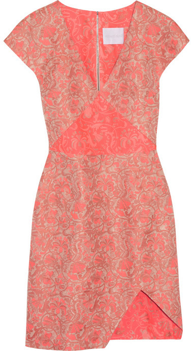 Richard Nicoll Neon paneled jacquard mini dress
