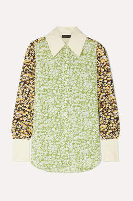 Stine Goya James Oversized Floral-print Crepe Shirt - Lime green