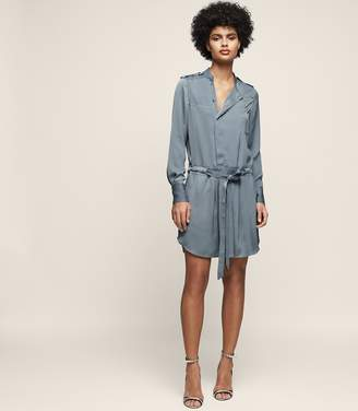 Reiss ELEANOR SATIN SHIRT DRESS NORDIC BLUE