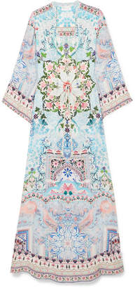 Camilla The Long Way Home Printed Silk Crepe De Chine Maxi Dress - Sky blue