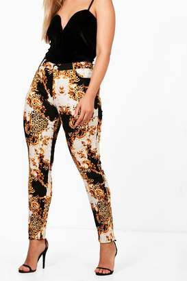 boohoo Plus Sophie Chain/ Baroque Print Jeans