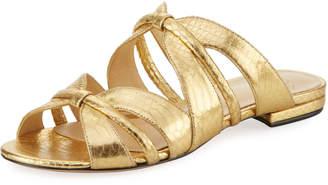 Alexandre Birman Sue Metallic Snakeskin Sandal