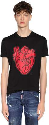 DSQUARED2 Heart Printed Cotton Jersey T-Shirt