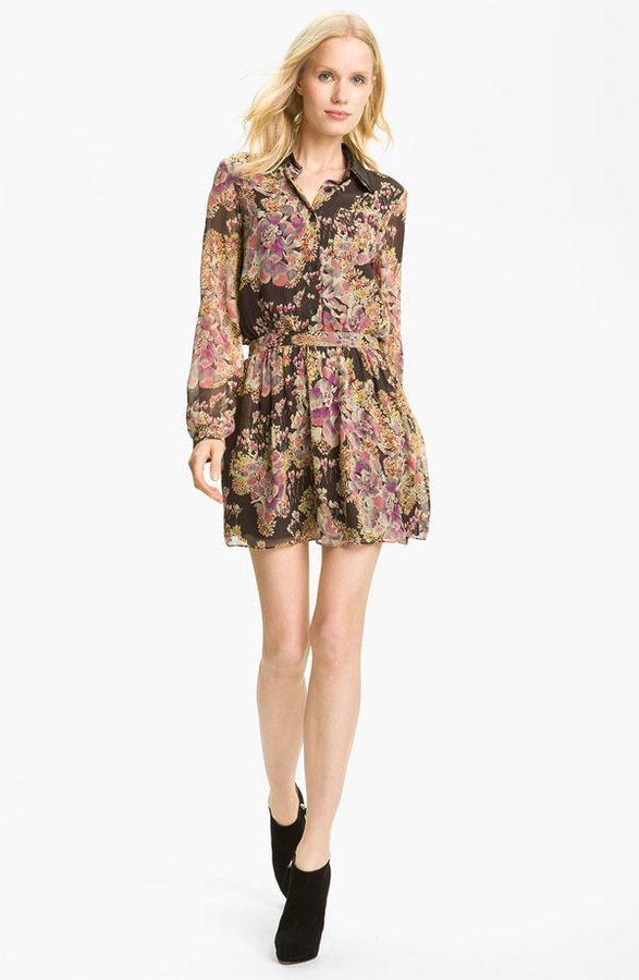 Gryphon Floral Print Silk Chiffon Shirtdress