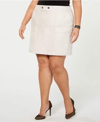 INC International Concepts I.n.c. Plus Size Faux-Suede Mini Skirt
