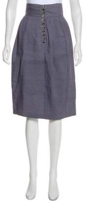 Burberry Linen-Blend Knee-Length Skirt