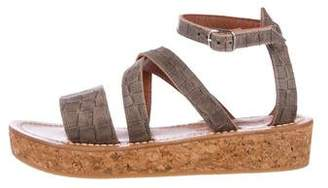 K Jacques St Tropez Embossed Leather Flatform Sandals