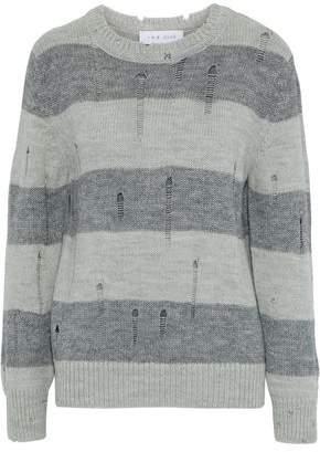 Stys Distressed Striped Intarsia-Knit Sweater