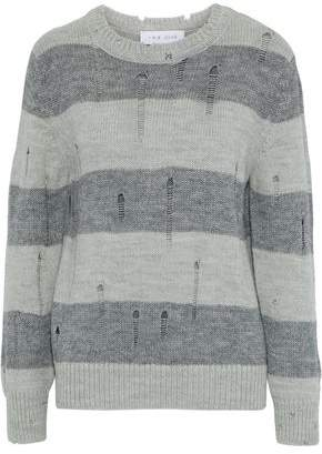 IRO Stys Distressed Striped Intarsia-Knit Sweater