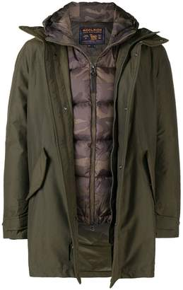 Woolrich padded layered hooded coat