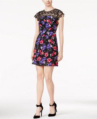 kensie Floral-Print Lace-Contrast Dress $79 thestylecure.com