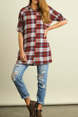 Umgee USA Plaid Pockets Tunic