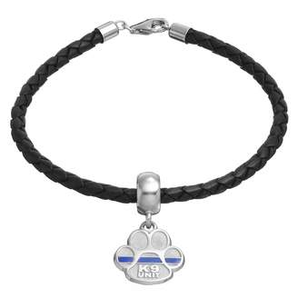"Insignia Collection Sterling Silver & Leather ""K9 Unit"" Charm Bracelet"