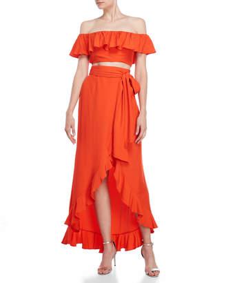Jay Godfrey Two-Piece Loras Crop Top & Skirt Set