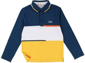 BOSS Boys Long Sleeve Block Stripe Polo Shirt