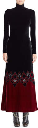 Ralph Lauren 50th Anniversary Reiley Turtleneck Long-Sleeve Velvet Evening Gown w/ Contrast Hem