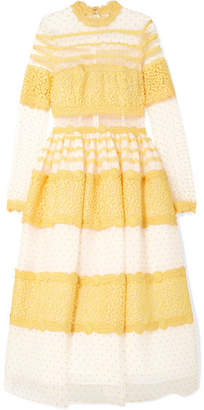 Costarellos - Lace-trimmed Swiss-dot Tulle Midi Dress - Yellow