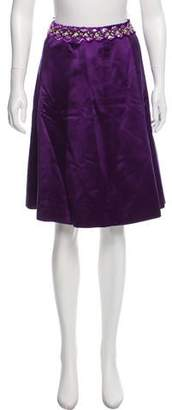 Chanel Embellished Silk Knee-Length Skirt