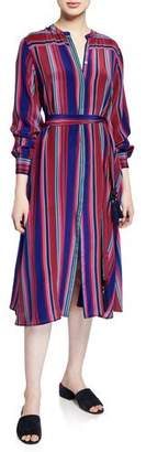 Figue Elena Long-Sleeve Multi-Striped Dress