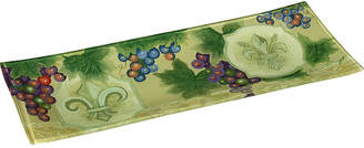 Precious Moments Ne'Qwa Art Hand-Painted Glass Fleur De Lis Vines Serving Tray
