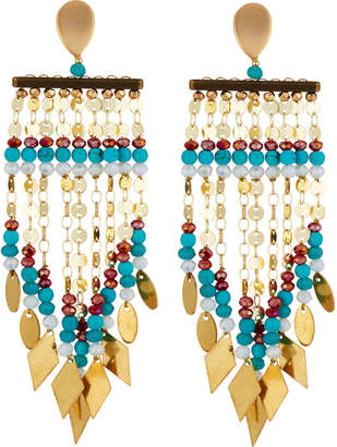 Nakamol Mixed Beaded Dangle Fringe Earrings