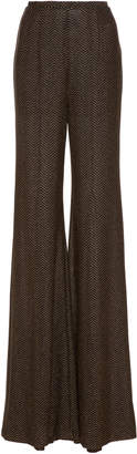 Emilia Wickstead Dario Metallic Stretch-Knit Wide-Leg Pants