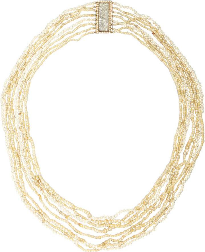 Renee Lewis Pearl Multi-Strand Necklace with Diamond 'Shake' Clasp