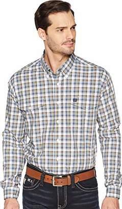 Cinch Men's Classic Fit Long Sleeve Button Two Flap Pocket Plaid Shirt