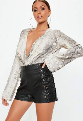 Missguided Faux Leather Eyelet Detail Shorts