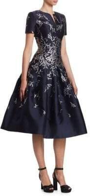 Oscar de la Renta Coral Reef-Embroidered Fit-&-Flare Dress