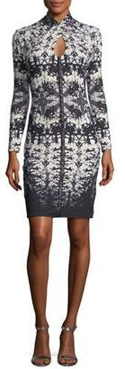 Roberto Cavalli Long-Sleeve Keyhole Abstract-Print Fitted Dress