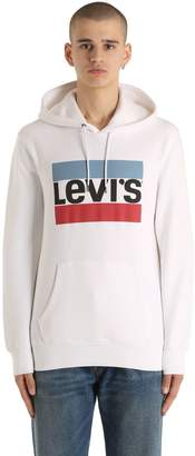 Levi's Logo Printed Hooded Cotton Sweatshirt