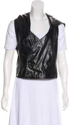 Helmut Lang Leather Hooded Vest