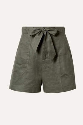 Equipment Taimee Belted Linen Shorts - Army green