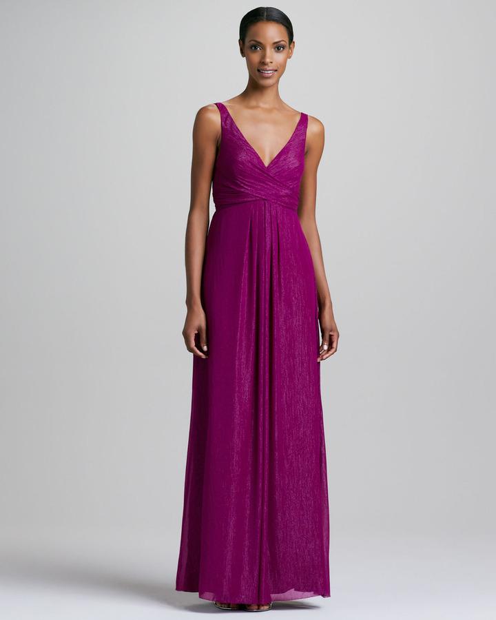 Nicole Miller Sleeveless Sparkle V-Neck Gown