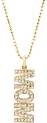 Jennifer Meyer Vertical Diamond MOM Necklace - Yellow Gold
