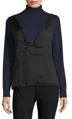 Dries Van Noten Layered Cashmere Turtleneck Blouse