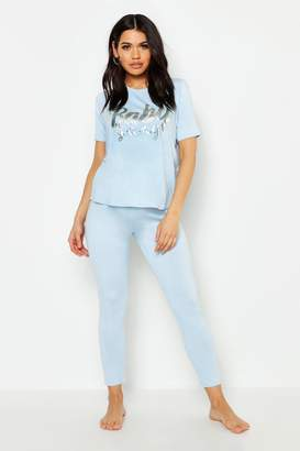 boohoo Maternity Baby Gang PJ Set With Foil