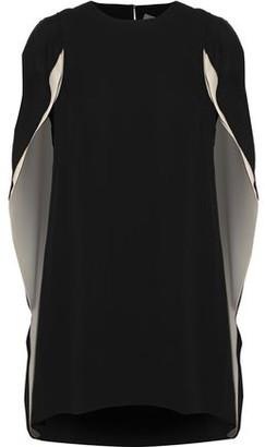 Halston Cape-Back Crepe De Chine Mini Dress