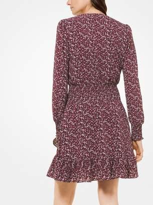 MICHAEL Michael Kors Leaf-Print Ruffled Crepe Dress