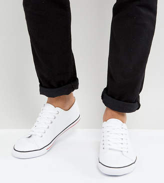 Asos DESIGN Wide Fit lace up plimsolls in white canvas
