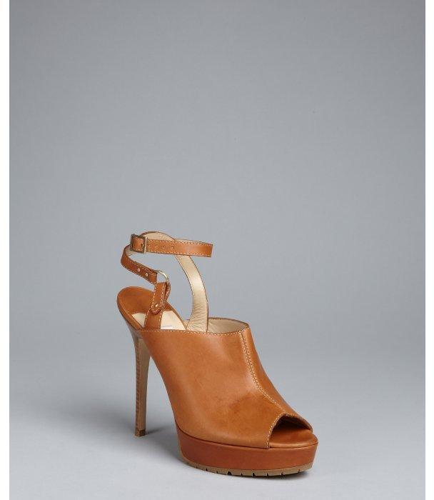 Jimmy Choo tan leather 'Chase' platform mules
