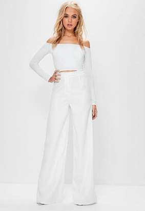 Missguided Tall White Crepe Wide Leg Pants